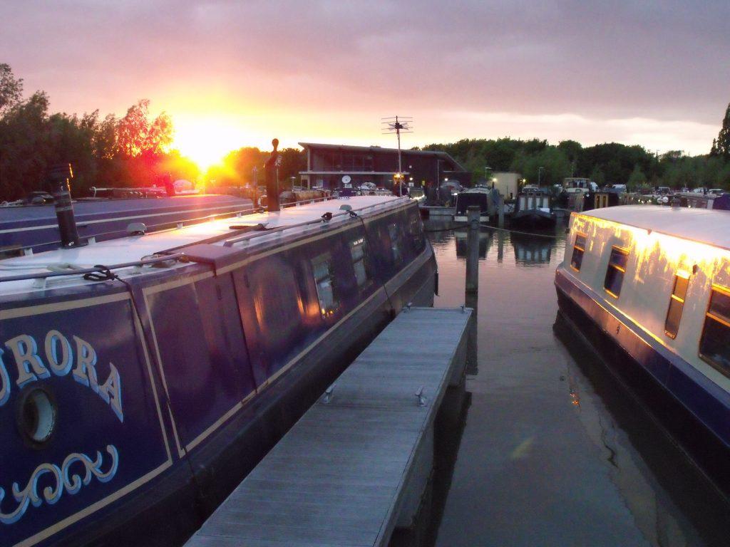 Narrowboats in the marina at West Drayton