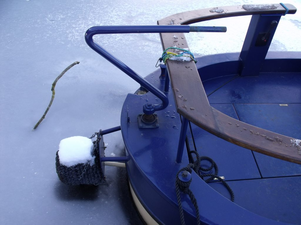 Stern of frozen narrowboat