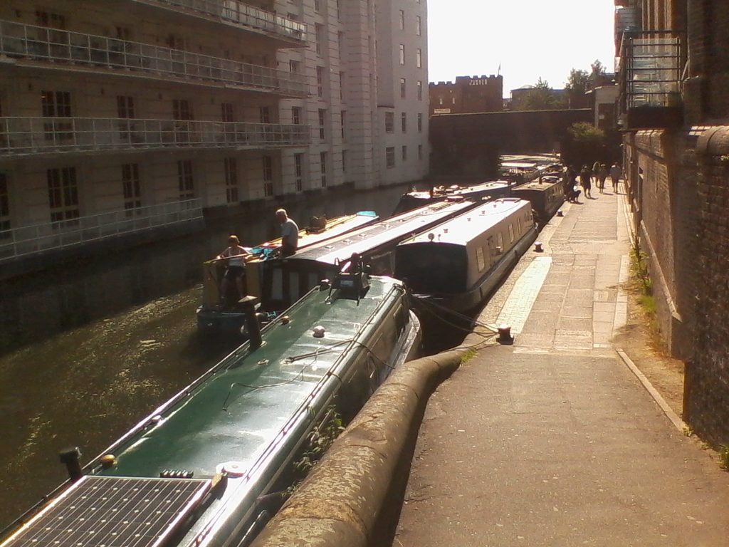 Narrowboats moored in Camden